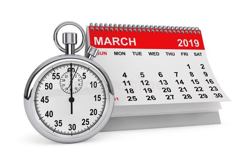 En marzo de 2019 calendario con el cronómetro representación 3d ilustración del vector