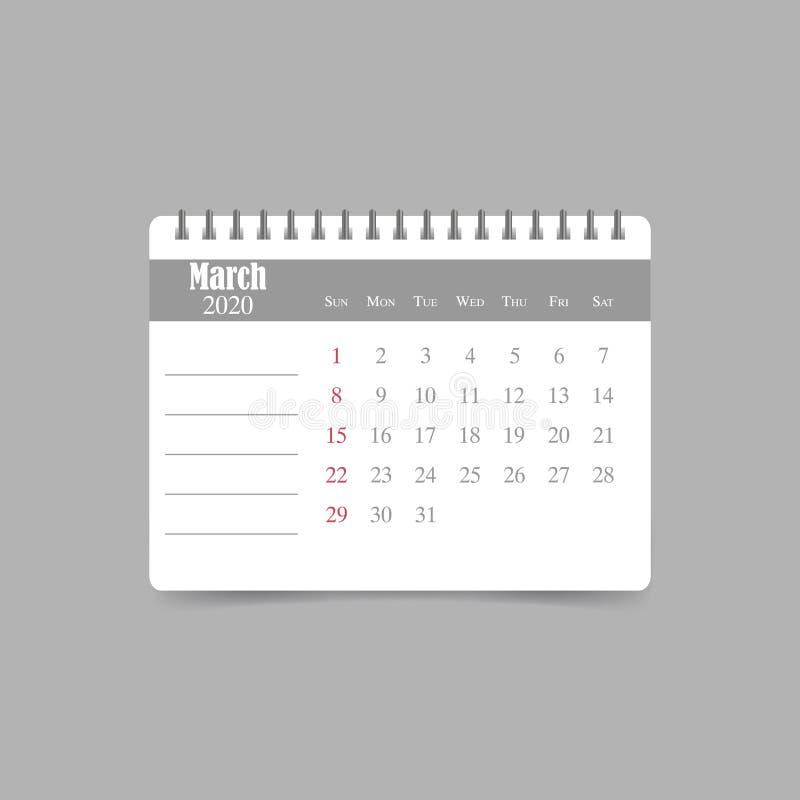 En marzo de 2020 calendario La semana comienza domingo ilustración del vector