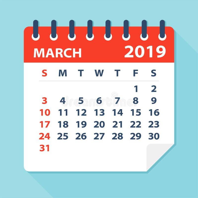En marzo de 2019 hoja del calendario - ejemplo del vector stock de ilustración
