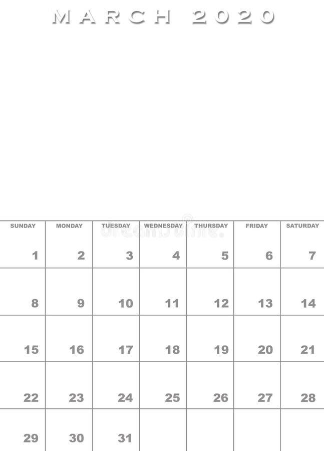 En marzo de 2020 plantilla del calendario foto de archivo libre de regalías