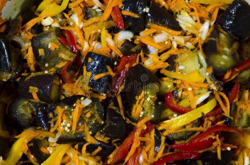 En maträtt av kryddiga aubergine med morötter, lökar, peppar och vinäger royaltyfri foto