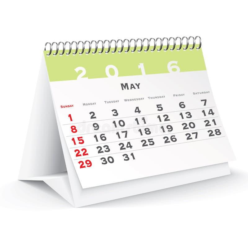 En mayo de 2016 calendario de escritorio ilustración del vector
