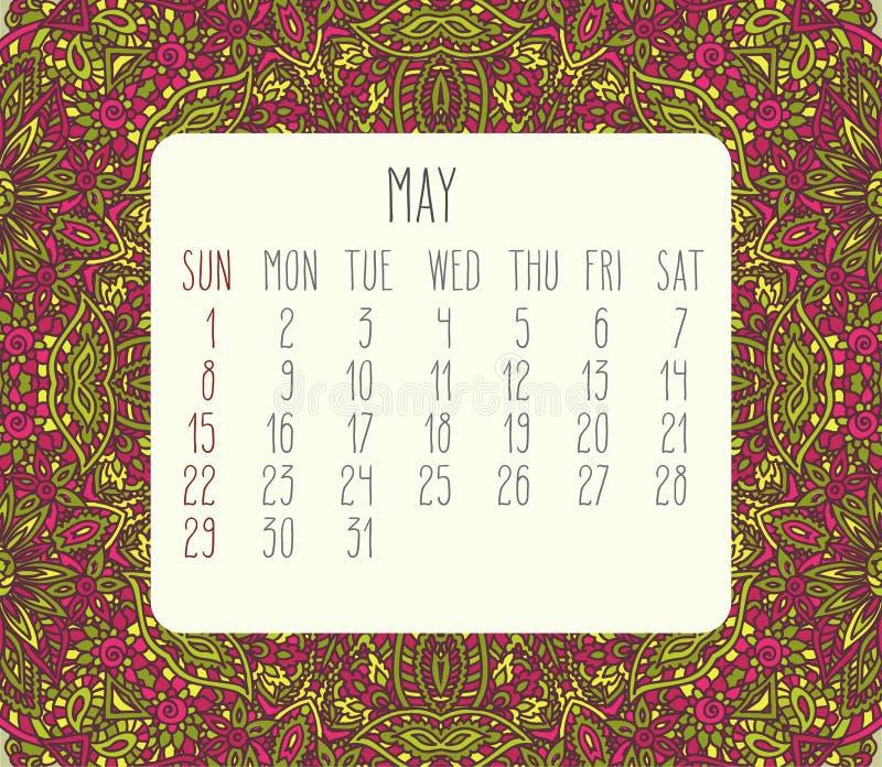 En mayo de 2016 calendario mensual libre illustration