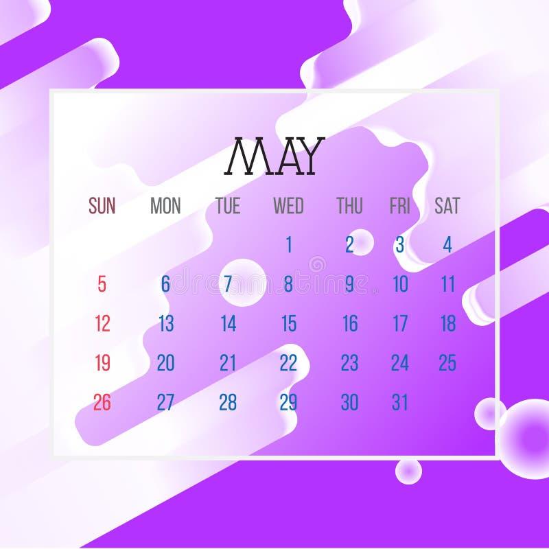 En mayo de 2019 hoja del calendario - ejemplo Página del gráfico de vector con color de fondo púrpura del extracto stock de ilustración
