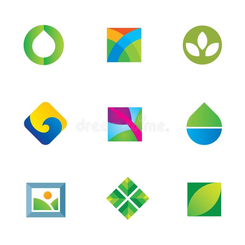 En med för konstkanfas för natur den stora symbolen för logo för droppe för vatten stock illustrationer