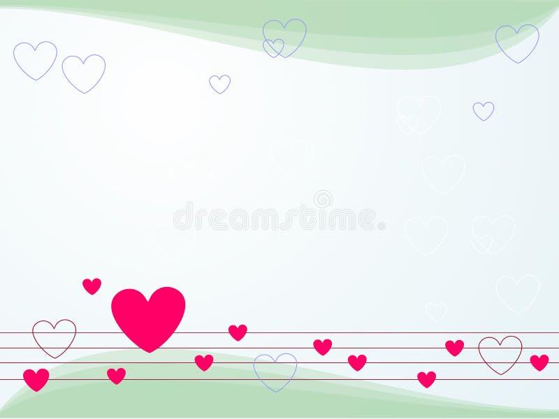En melodi av vårbakgrund, blått, kricka Ljust - blå bakgrund med hjärtor vektor illustrationer