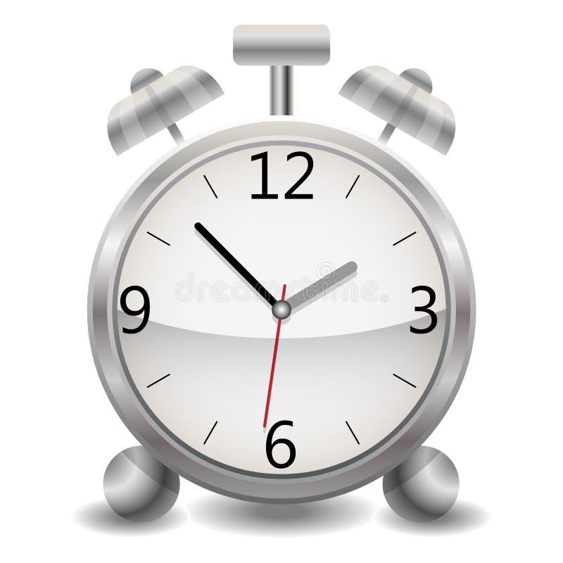 En metallisk mekanisk realistisk ringklocka, en klocka som visar femtiotre minuter efter en nolla-`-klocka i eftermiddagen vektor illustrationer