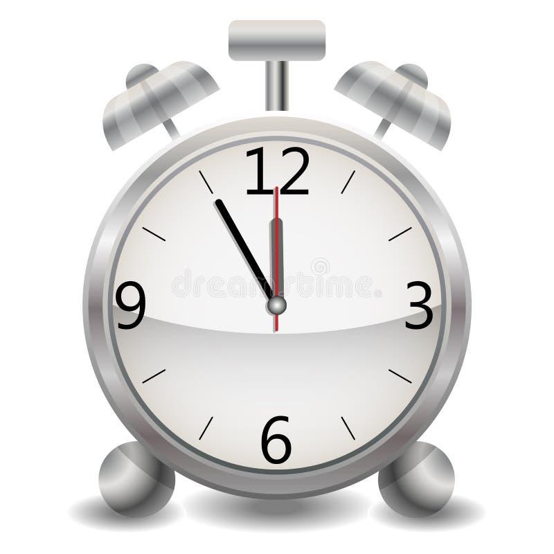 En metallisk mekanisk realistisk ringklocka, en klockavisning på fem minuter tolv, midnatt eller lunch vektor illustrationer