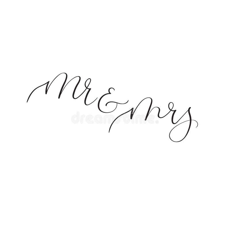 en Mevr Moderne kalligrafie voor huwelijksontwerp Met de hand geschreven tekst vector illustratie
