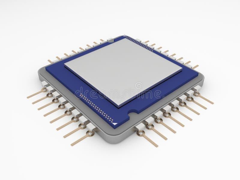 En mikroprocessor eller en CPU i en ren vit bakgrund Isolerat foto av mikroprocessorn med vitt utrymme för beställnings- text 3d royaltyfri fotografi
