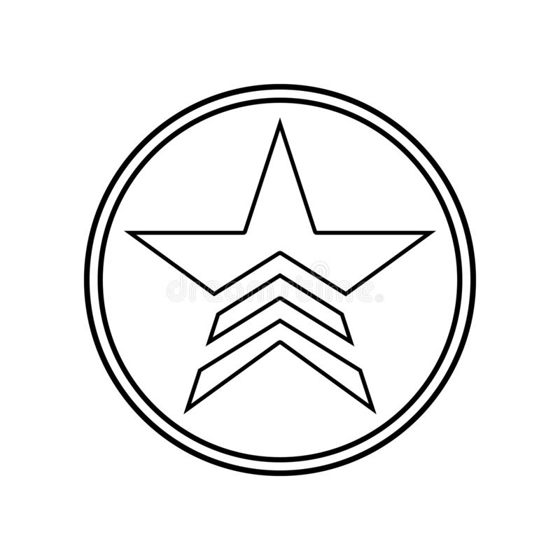 en milit?r stj?rna i en cirkelsymbol E ?versikt tunn linje symbol vektor illustrationer