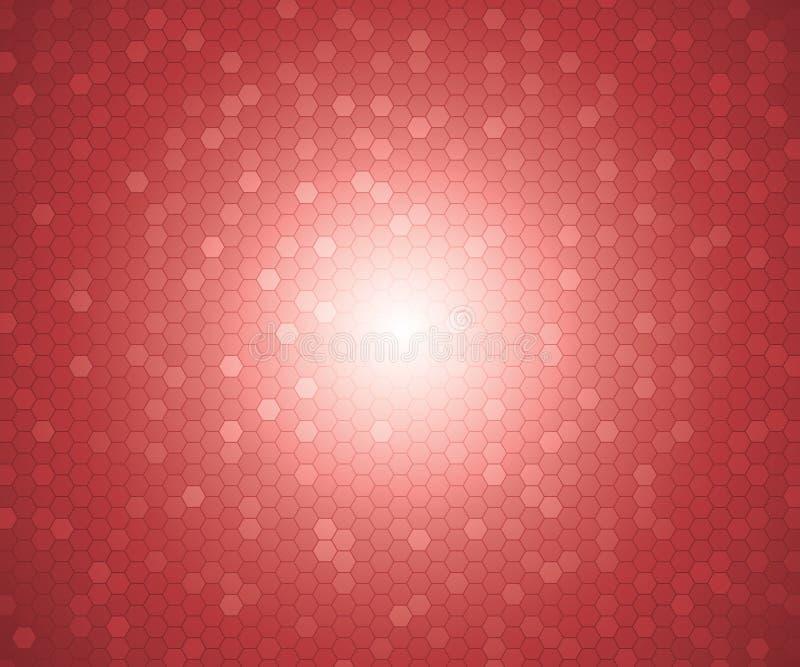En modell av sexhörningen för röd färg formar för bakgrund vektor royaltyfri illustrationer