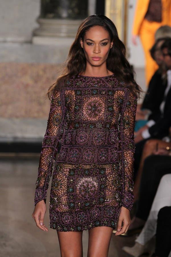 En modell går landningsbanan på den Emilio Pucci showen som en del av Milan Fashion Week royaltyfria foton