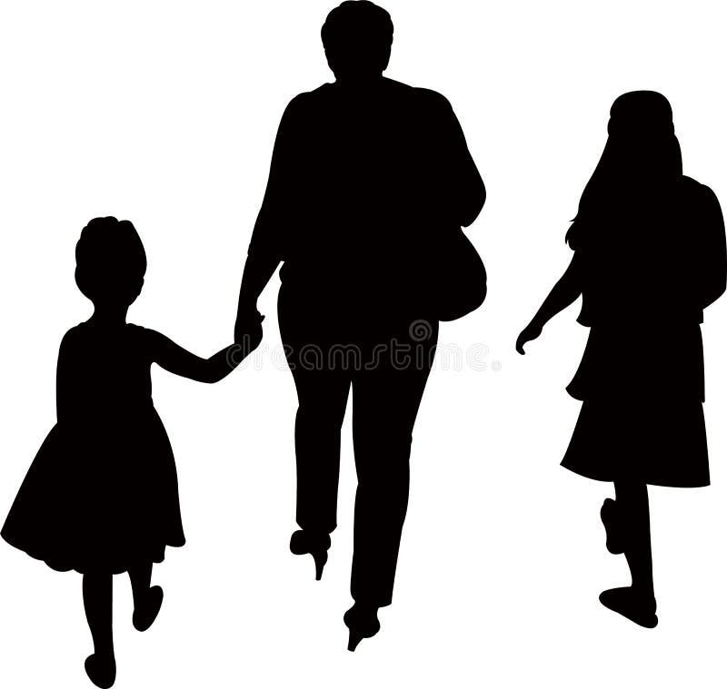 En moder och två döttrar som går, konturvektor vektor illustrationer