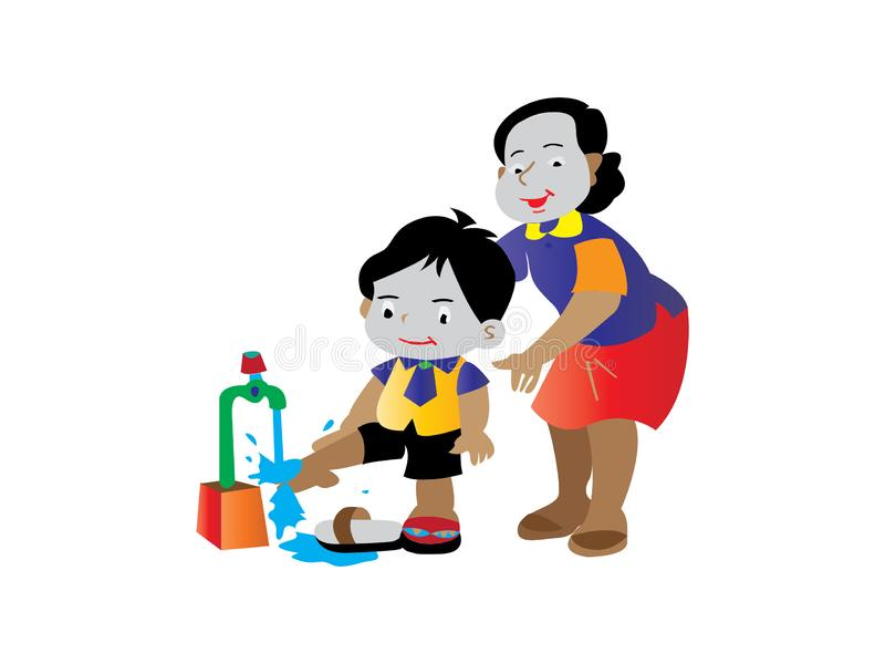 En moder undervisar barn att tvätta deras fot vektor illustrationer
