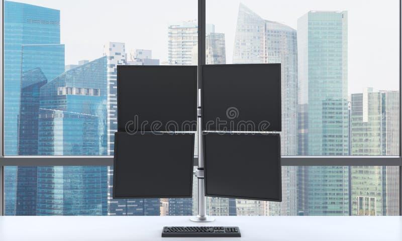En modern affärsmans arbetsplats eller station som består av fyra skärmar i ett panorama- kontor för ljust modernt öppet utrymme  vektor illustrationer