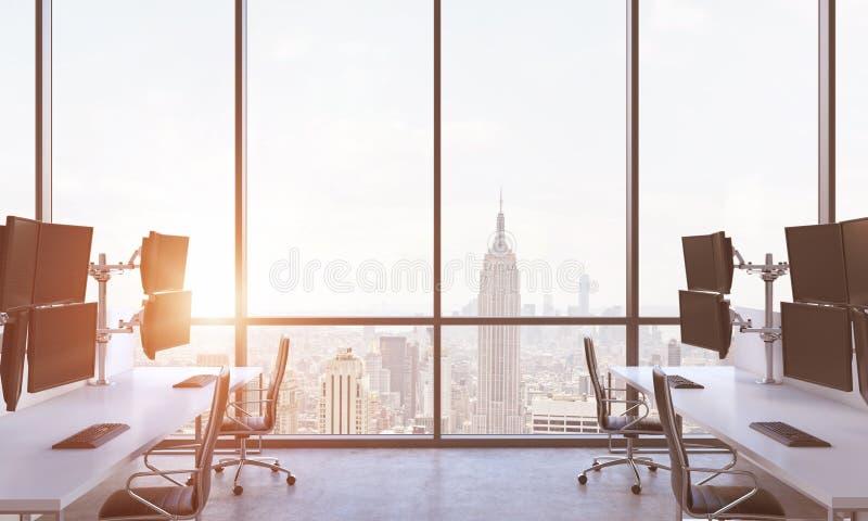 En modern affärsmans arbetsplatser i ett modernt panorama- kontor i New York City Ett begrepp av finansmarknadkultur En solnedgån stock illustrationer