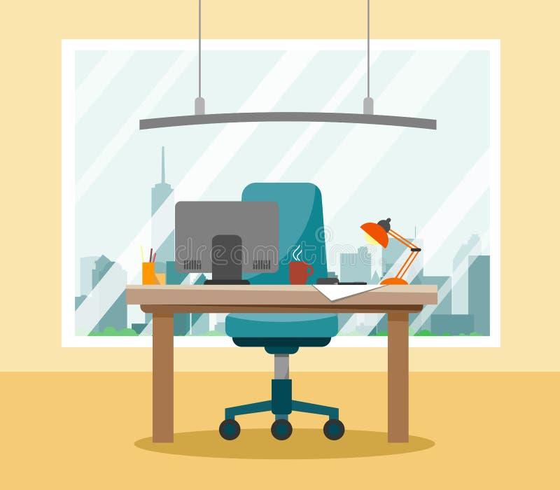 En modern arbetsplats i kontoret med en ljuskrona och ett stort fönster som förbiser skyskrapor i stilen av lägenheten stock illustrationer