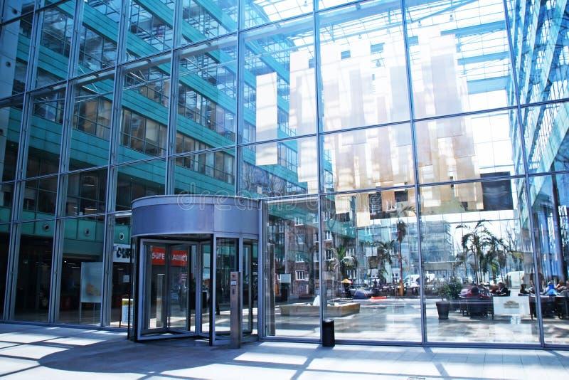 Modern glass atrium arkivfoto