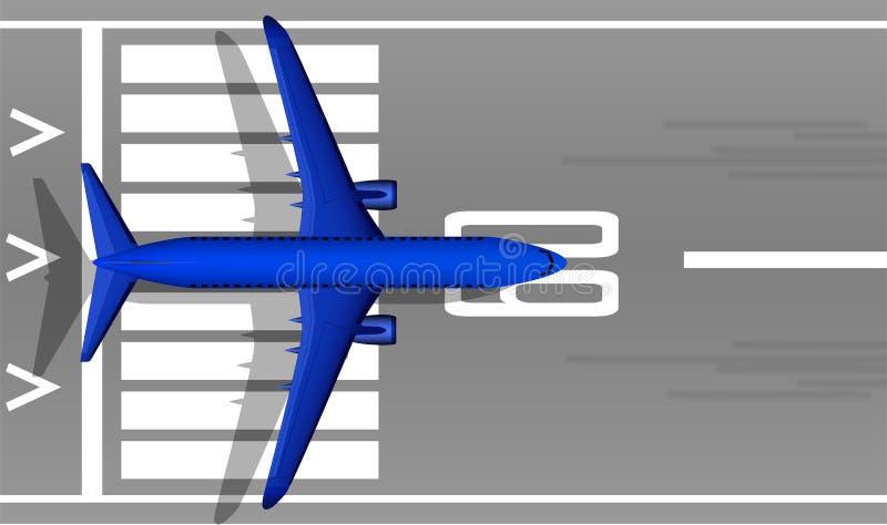 En modern strålpassagerareblått hyvlar på landningsbanan ovanför sikt Enplanlagd bild med en mass av små detaljer Flygplatsfläck royaltyfri illustrationer