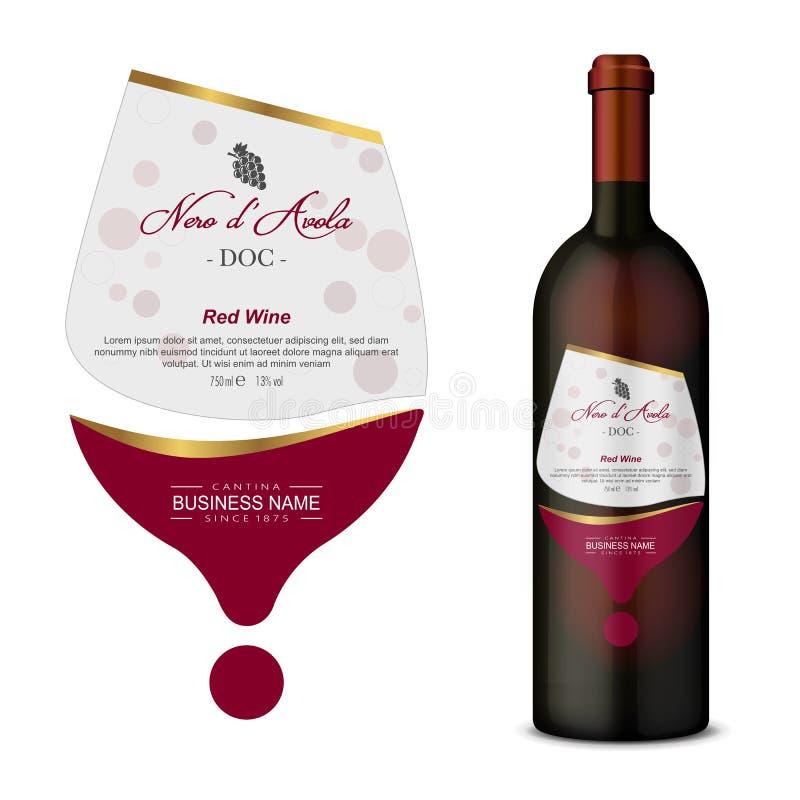 En modern vektoretikett för rött vin stock illustrationer