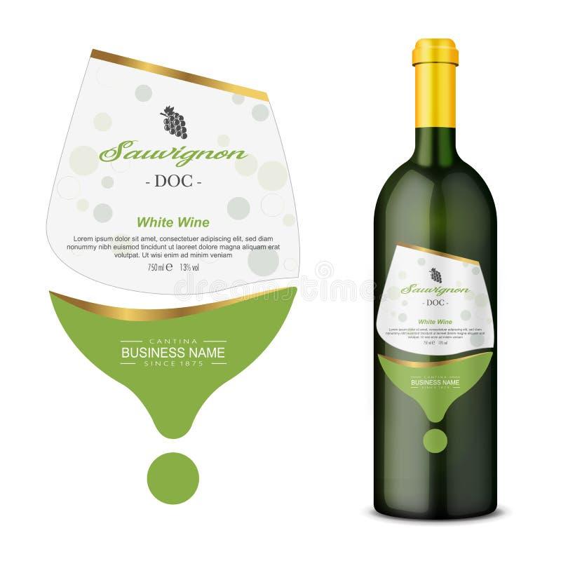 En modern vektoretikett för vitt vin royaltyfri illustrationer