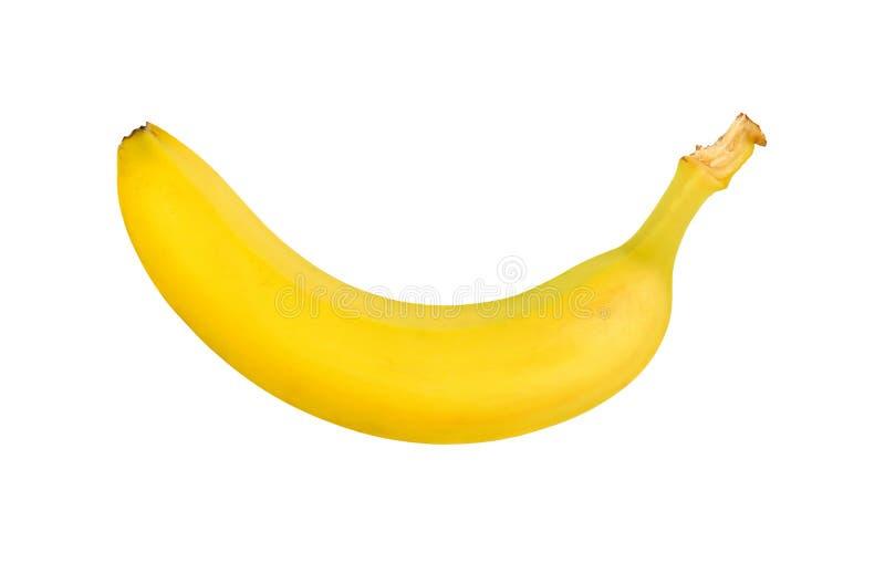 En mogen gul banan som isoleras p? vit fotografering för bildbyråer