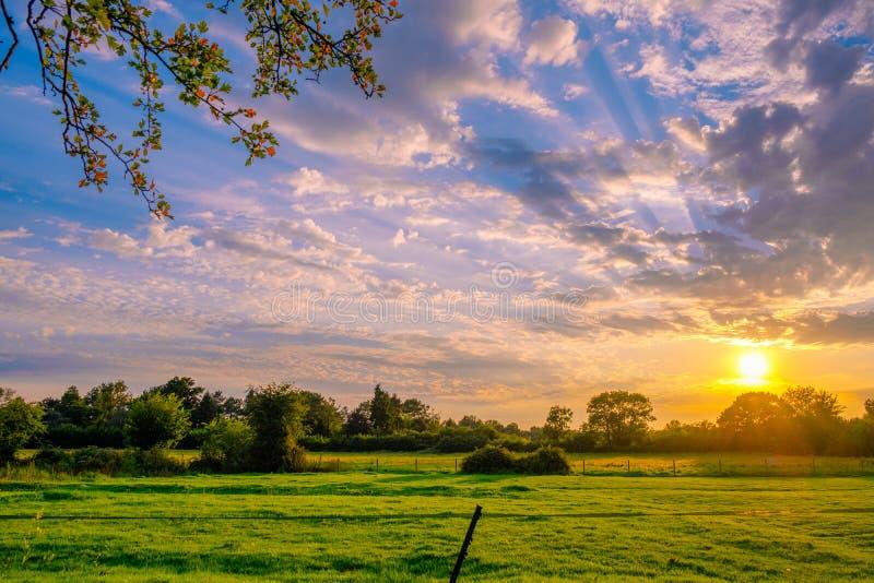 En morgonuppsättning på en på engelska landssida för lantgård royaltyfri bild