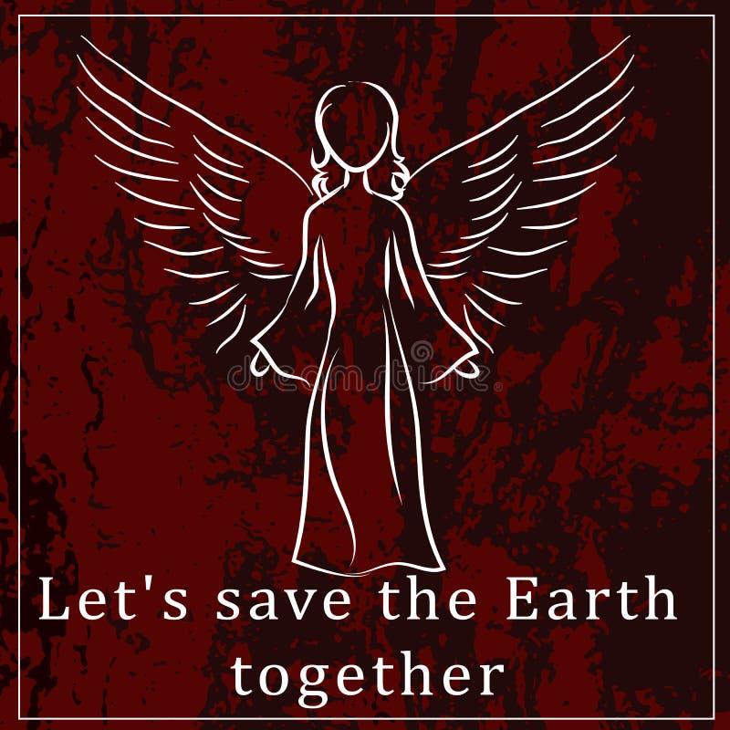 En motivant une affiche ou un autocollant pour protéger la planète mettez à la terre le requi illustration stock