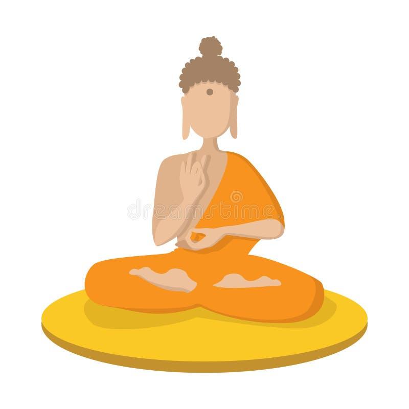 En munk som mediterar i symbolen för lotusblommaposition stock illustrationer