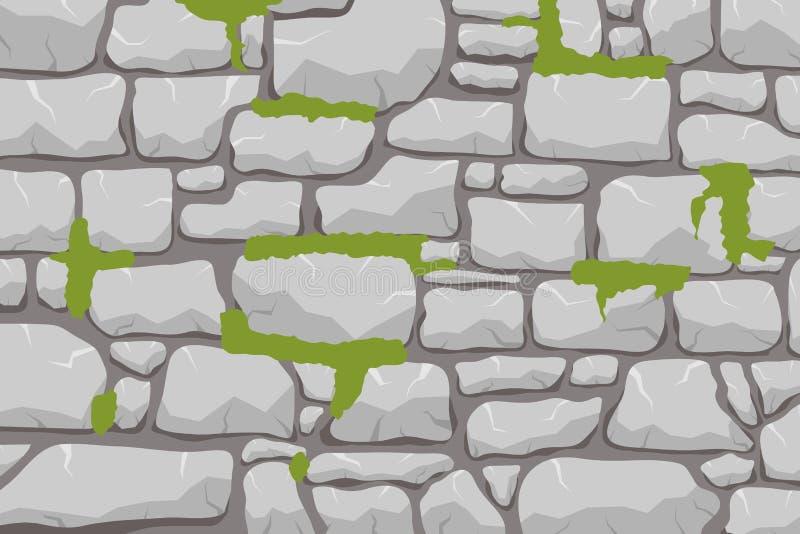 En mur av sten, en stenvägg övervuxen med en massa Masonry gjord av grå sten Vektor, teckningsbild stock illustrationer