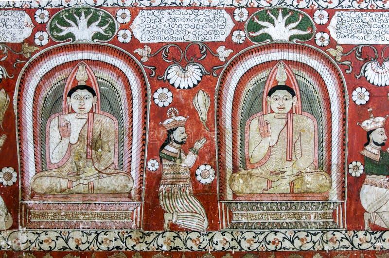 En mural i Sri Lankathilaka Rajamaha Viharaya fotografering för bildbyråer