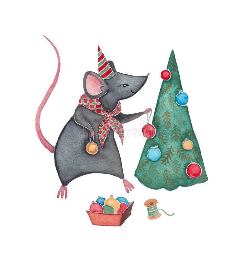 En mus med julgranen royaltyfri fotografi