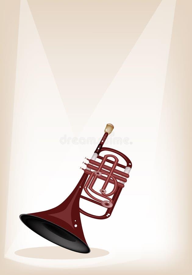 En musikalisk kornett på brun etappbakgrund stock illustrationer