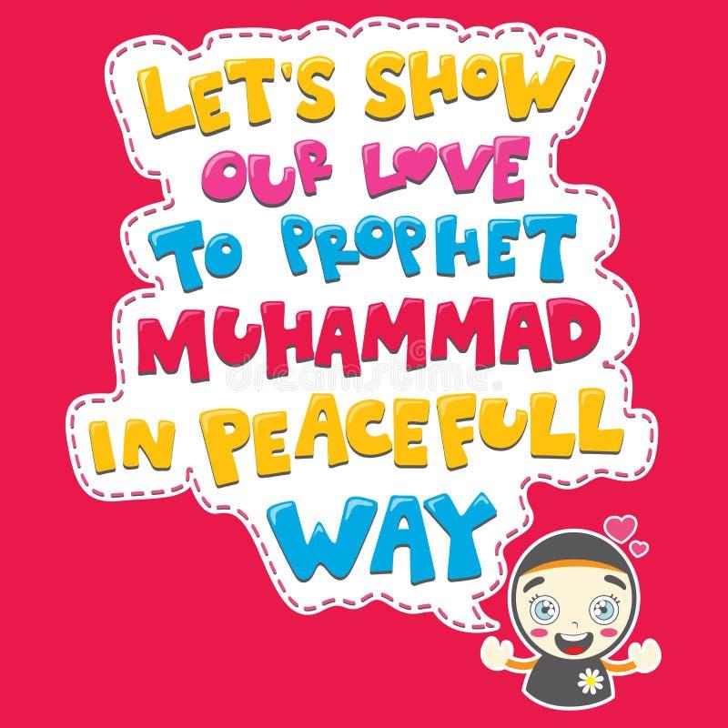 En muslim flicka som säger förälskelse till profeten muhammad stock illustrationer