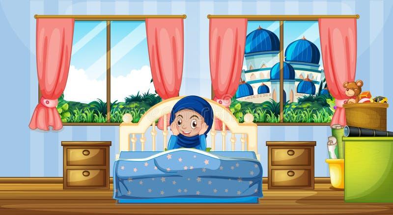 En muslimflicka i sovrummet royaltyfri illustrationer