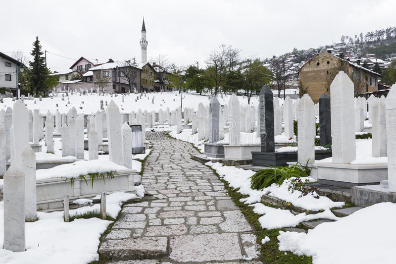 En muslimkyrkogård i en härlig vinterdag i Sarajevo, Bosnien royaltyfria bilder