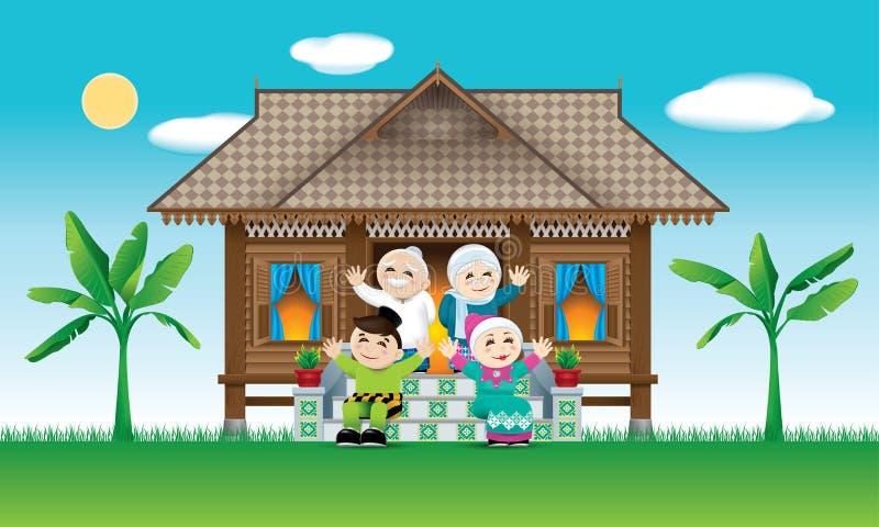 En muslimsk familj som firar den Raya festivalen i deras traditionella malajiska stilhus Med byplats stock illustrationer