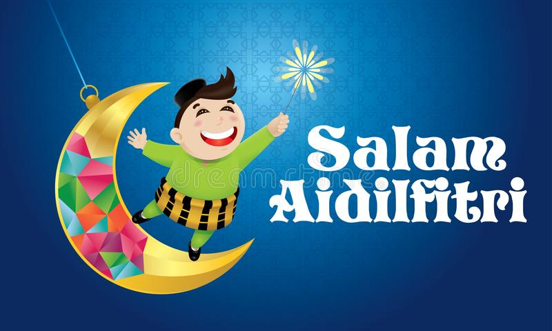 En muslimsk pojke som spelar fyrverkerier på en svängande måne, med malajiska modellbakgrund royaltyfri illustrationer
