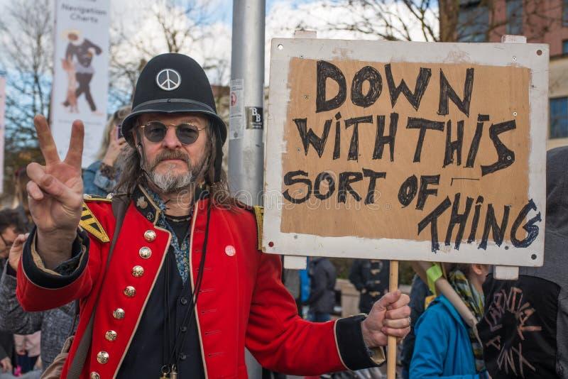 En mycket brittisk protest arkivfoto