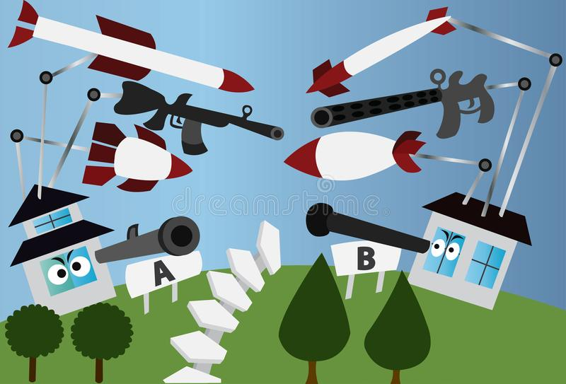 En mycket fientlig Neighbourhood vektor illustrationer