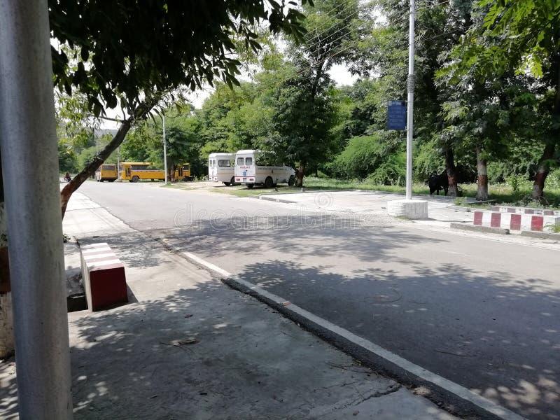 En mycket härlig och attraktiv plats av medel som parkeras bredvid vägen i Indien på eftermiddagtid i Indien royaltyfri fotografi