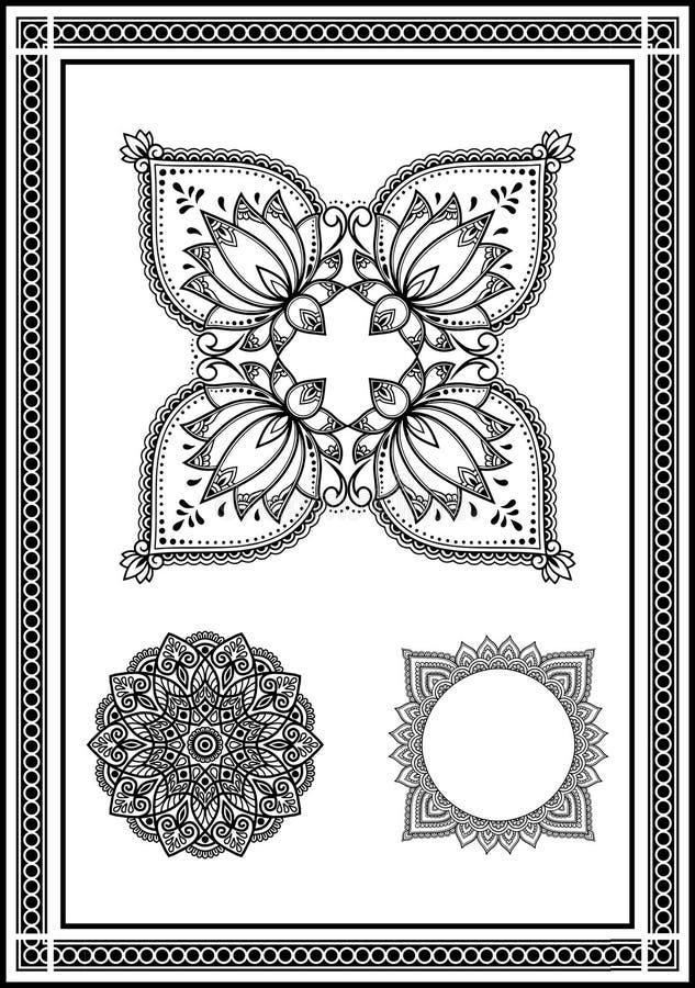 En mycket härlig samling av blommor från runda modeller i unika former för henna, handtatueringar och så vidare och att tillfoga  royaltyfri illustrationer