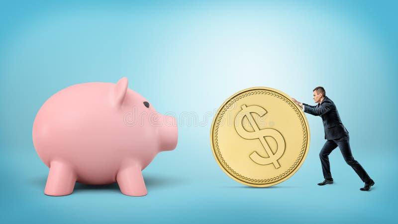 En mycket liten affärsman rullar ett enormt guld- dollarmynt i riktningen av en jätte- spargris royaltyfri illustrationer