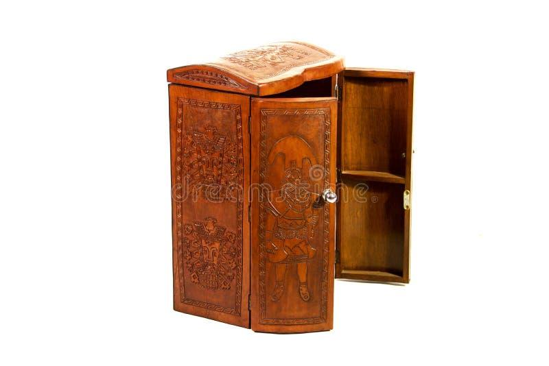 En mycket special ask av cowÂs läder som fotvandrar många sakkunniga och viktiga saker till alla royaltyfria bilder