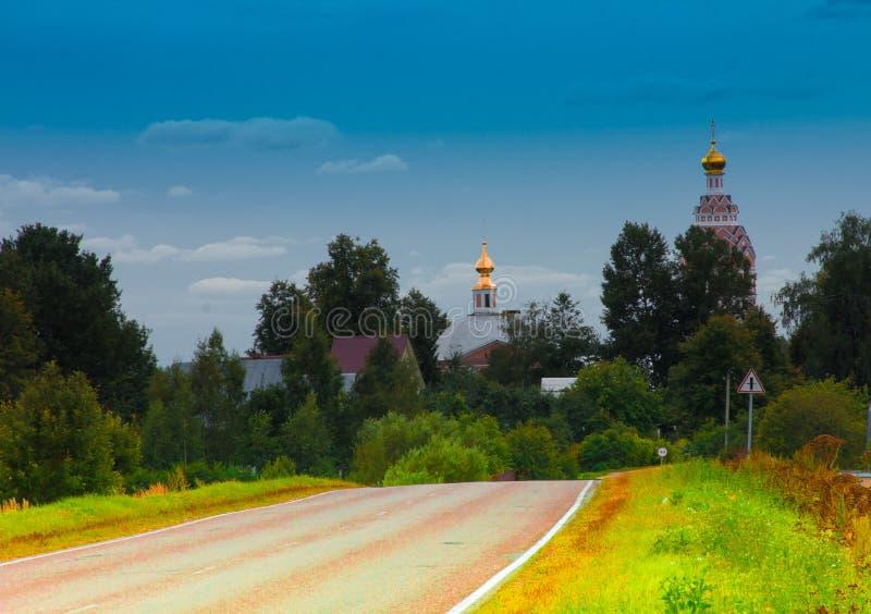 En by nära Moskva arkivbild