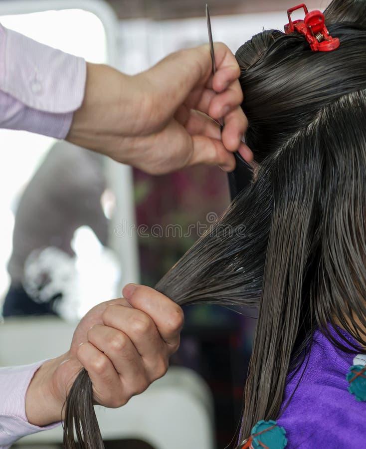 En närbild för hårsalong fotografering för bildbyråer