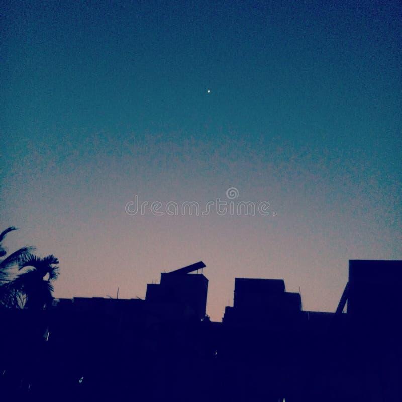 En natt med en stjärna arkivfoto