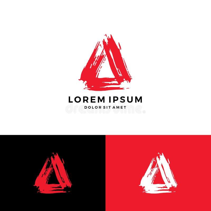 En nedladdning för symbol för vektor för logo för slaglängd för blod för bokstavstriangelmålarfärg vektor illustrationer