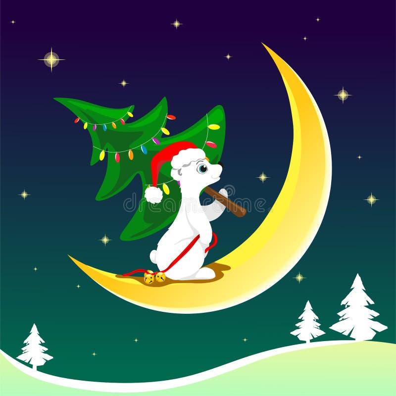 En nordlig björn i jultomten som hatten med klockor i a tafsar, bär en klädd julgran på himlen för månen mitt i natten, vektor illustrationer